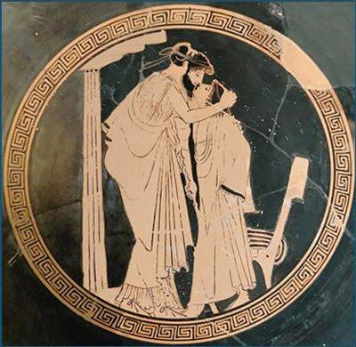 Copa del beso. Briseis. Gracia. ca. 480 a.C.
