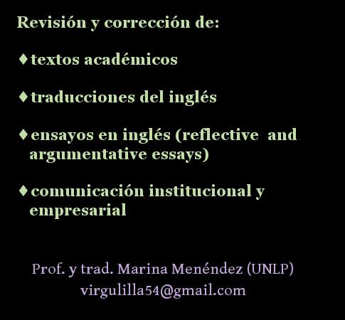 Corrección de traducciones al inglés. Traducción literaria. Clases de essay writing en La Plata