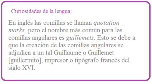 Guillemets: comillas angulares, latinas, españolas, frances o de codo.